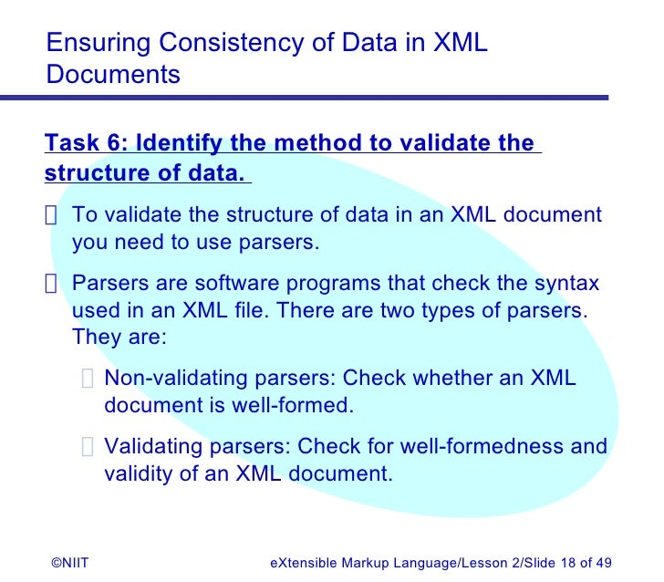 Validating and non validating parsers with xml