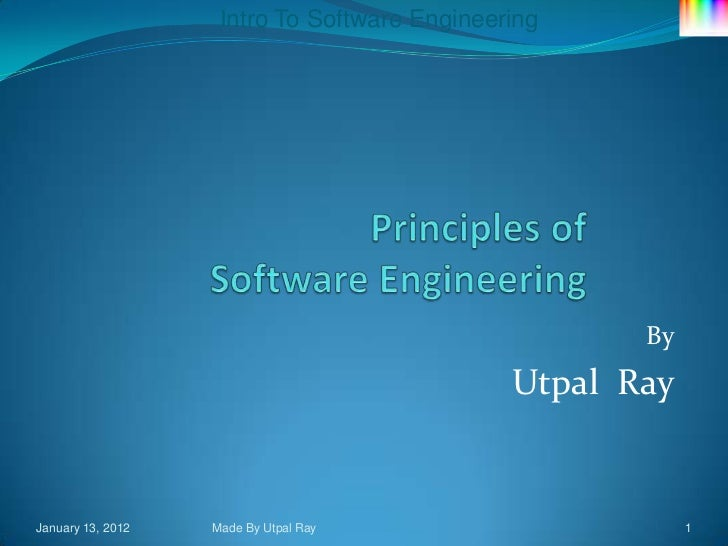 Intro To Software Engineering                                                     By                                      ...