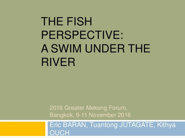 THE FISH PERSPECTIVE: A SWIM UNDER THE RIVER Eric BARAN, Tuantong JUTAGATE, Kithya OUCH 2016 Greater Mekong Forum, Bangkok...