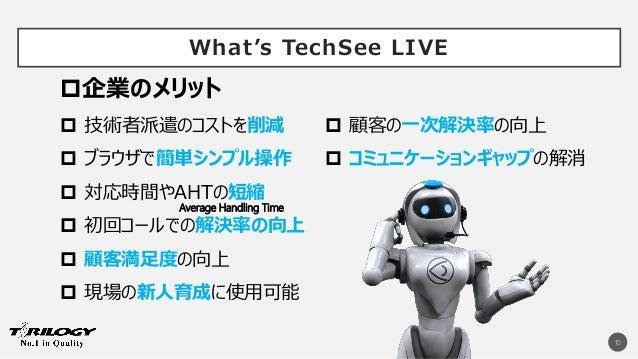 What's TechSee LIVE 10  技術者派遣のコストを削減  ブラウザで簡単シンプル操作  対応時間やAHTの短縮  初回コールでの解決率の向上  顧客満足度の向上  現場の新人育成に使用可能  顧客の一次解決率の向...