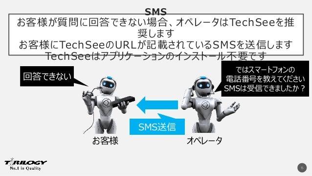 SMS お客様が質問に回答できない場合、オペレータはTechSeeを推 奨します お客様にTechSeeのURLが記載されているSMSを送信します TechSeeはアプリケーションのインストール不要です 15 回答できない ではスマートフォンの...