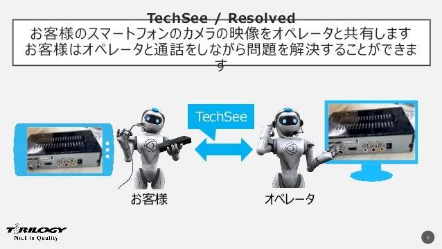 TechSee / Resolved お客様のスマートフォンのカメラの映像をオペレータと共有します お客様はオペレータと通話をしながら問題を解決することができま す 16 お客様 オペレータ TechSee