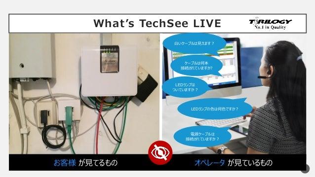 What's TechSee LIVE 5 LEDランプの色は何色ですか? ケーブルは何本 接続されていますか? 白いケーブルは見えます? LEDランプは ついていますか? 電源ケーブルは 接続されていますか? お客様 が見てるもの オペレータ...