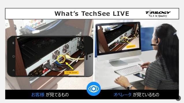 What's TechSee LIVE 6 お客様 が見てるもの オペレータ が見ているもの ここに差し込みます