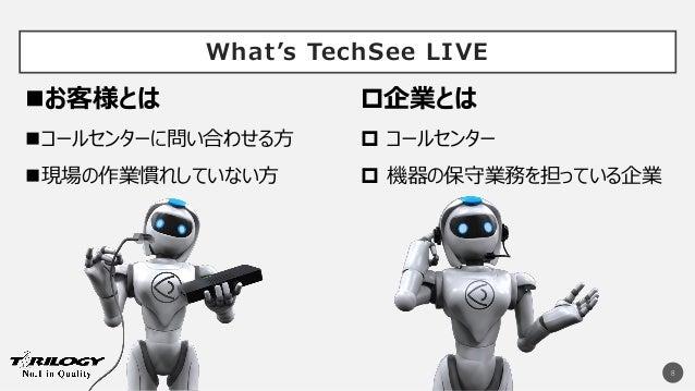 What's TechSee LIVE 8  コールセンター  機器の保守業務を担っている企業 企業とはお客様とは コールセンターに問い合わせる方 現場の作業慣れしていない方