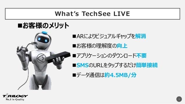 What's TechSee LIVE 9 ARによりビジュアルギャップを解消 お客様の理解度の向上 アプリケーションのダウンロード不要 SMSのURLをタップするだけ簡単接続 データ通信は約4.5MB/分 お客様のメリット