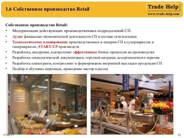 www.trade-help.com 17.03.17 12 1.6 Собственное производство Retail Собственное производство Retail: • Модернизация действу...