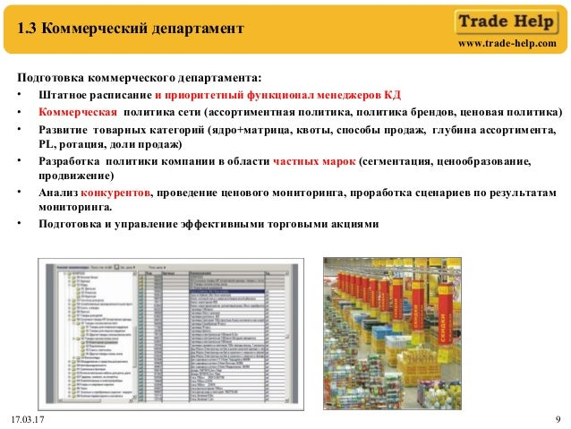 www.trade-help.com 17.03.17 9 1.3 Коммерческий департамент Подготовка коммерческого департамента: • Штатное расписание и п...
