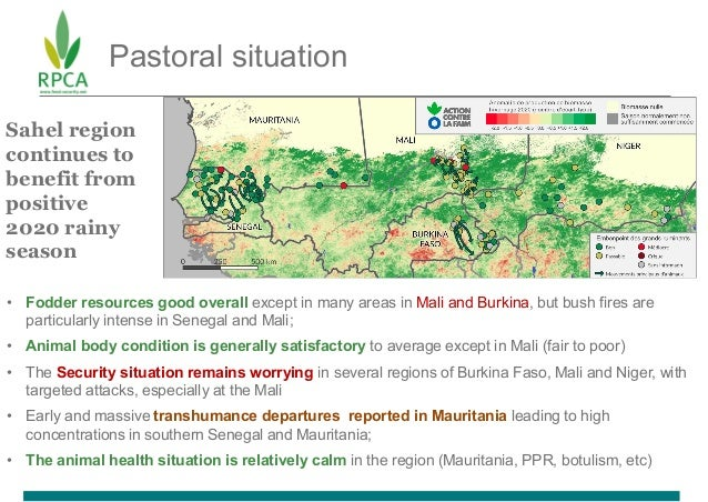 Pastoral situation • Fodder resources good overall except in many areas in Mali and Burkina, but bush fires are particular...