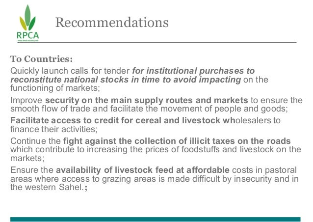 Recommendations To Countries: Quickly launch calls for tender for institutional purchases to reconstitute national stocks ...