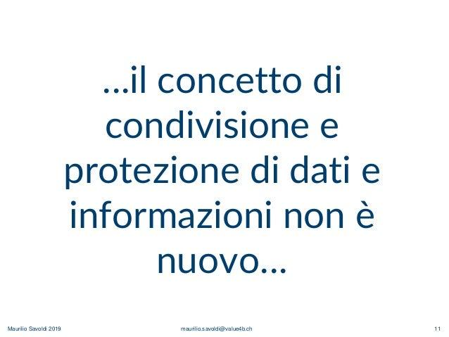 Maurilio Savoldi 2019 maurilio.savoldi@value4b.ch 11 …il concetto di condivisione e protezione di dati e informazioni non ...
