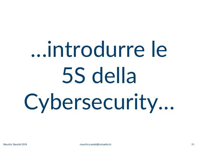 Maurilio Savoldi 2019 maurilio.savoldi@value4b.ch 31 …introdurre le 5S della Cybersecurity…