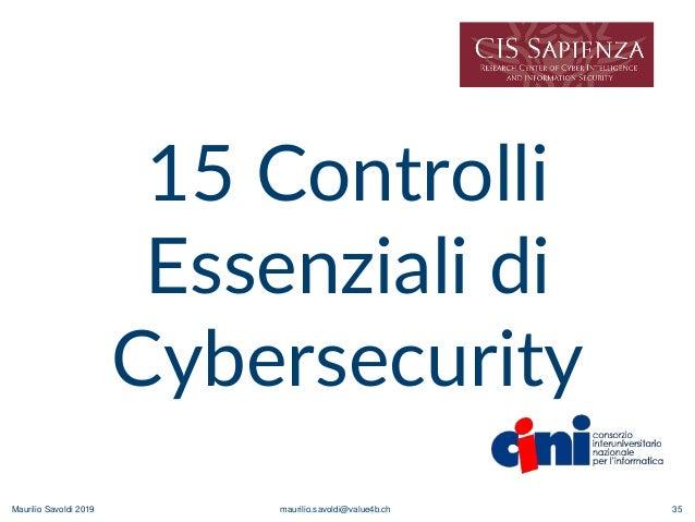Maurilio Savoldi 2019 maurilio.savoldi@value4b.ch 35 15 Controlli Essenziali di Cybersecurity