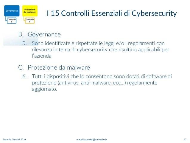 Maurilio Savoldi 2019 maurilio.savoldi@value4b.ch 37 I 15 Controlli Essenziali di Cybersecurity B. Governance 5. Sono iden...