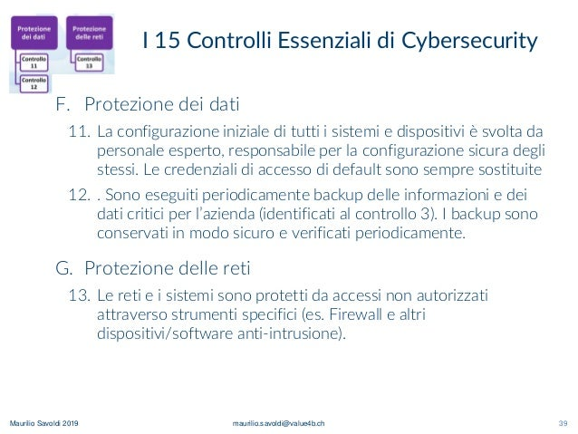 Maurilio Savoldi 2019 maurilio.savoldi@value4b.ch 39 I 15 Controlli Essenziali di Cybersecurity 39 F. Protezione dei dati ...