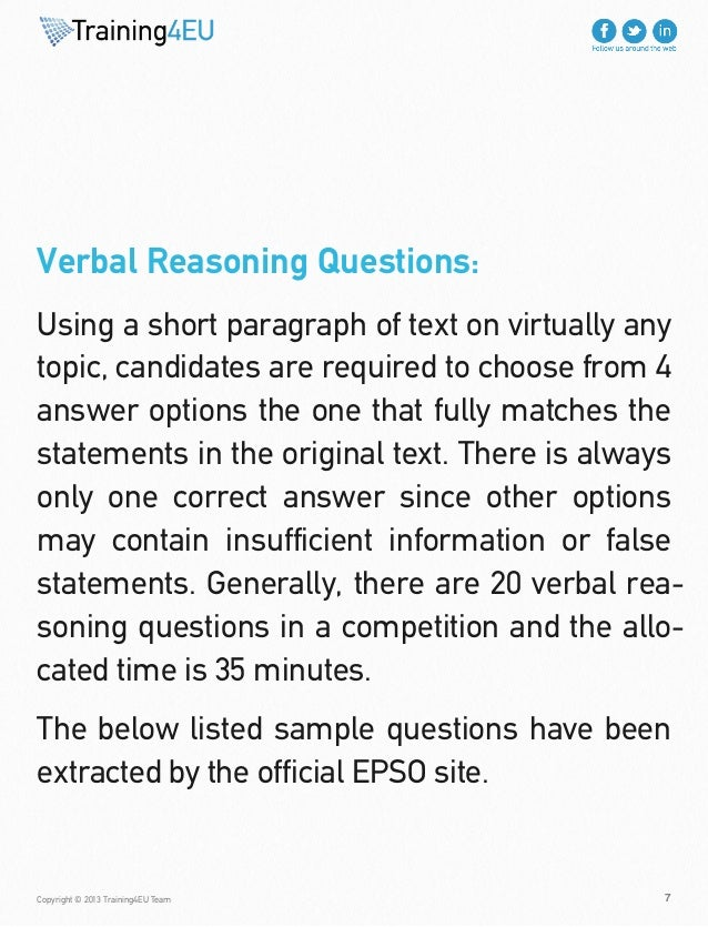 verbal reasoning sample tests eu epso volume 02