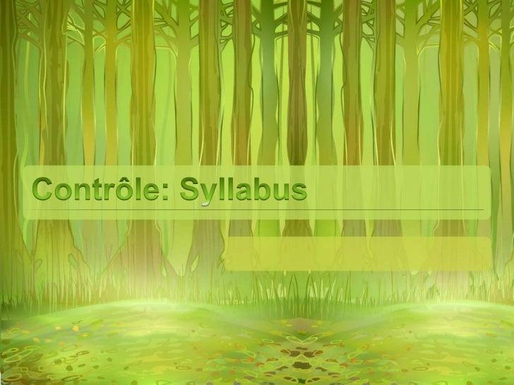 Contrôle: Syllabus<br />
