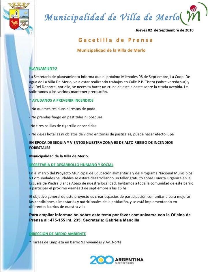 Municipalidad de Villa de Merlo                                                                  Jueves 02 de Septiembre d...
