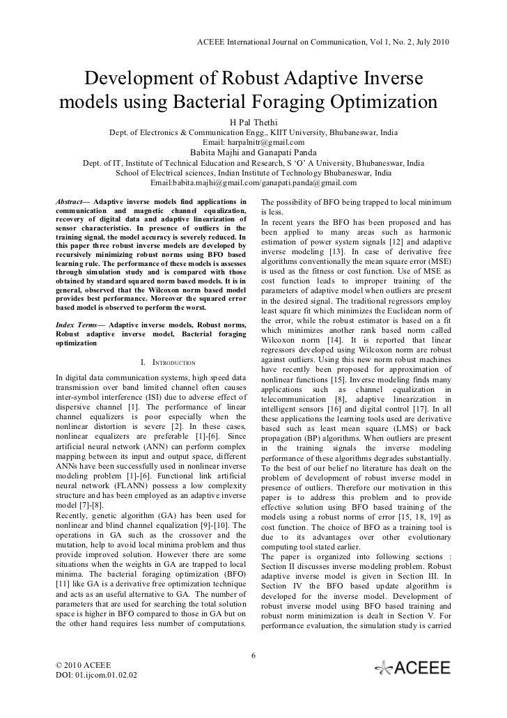ACEEE International Journal on Communication, Vol 1, No. 2, July 2010   Development of Robust Adaptive Inverse models usin...