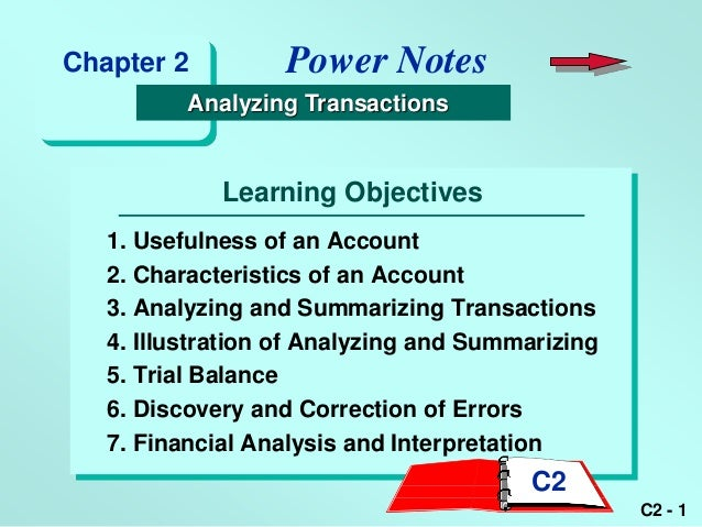 Chapter 2          Power Notes          Analyzing Transactions             Learning Objectives   1. Usefulness of an Accou...