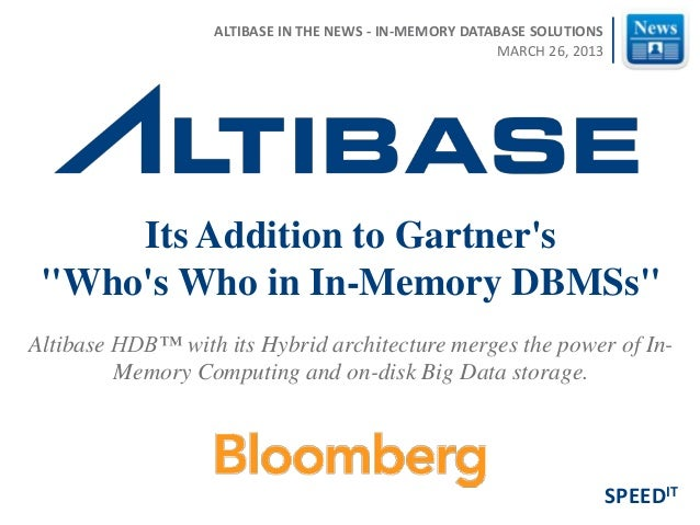 Altibase HDB™ with its Hybrid architecture merges the power of In- Memory Computing and on-disk Big Data storage. Its Addi...