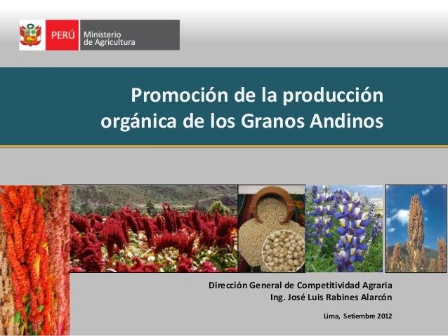 Promoción de la producción orgánica de los Granos Andinos Dirección General de Competitividad Agraria Ing. José Luis Rabin...