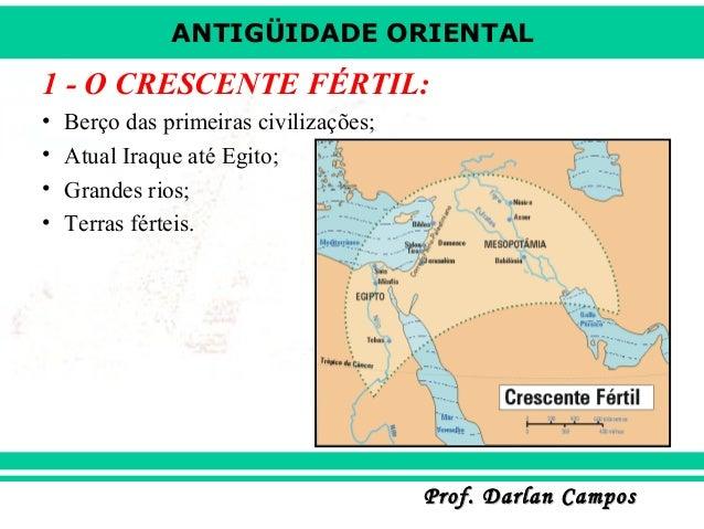 ANTIGÜIDADE ORIENTAL Prof. Darlan CamposProf. Darlan Campos 1 - O CRESCENTE FÉRTIL: • Berço das primeiras civilizações; • ...