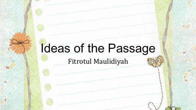 Ideas of the Passage Fitrotul Maulidiyah