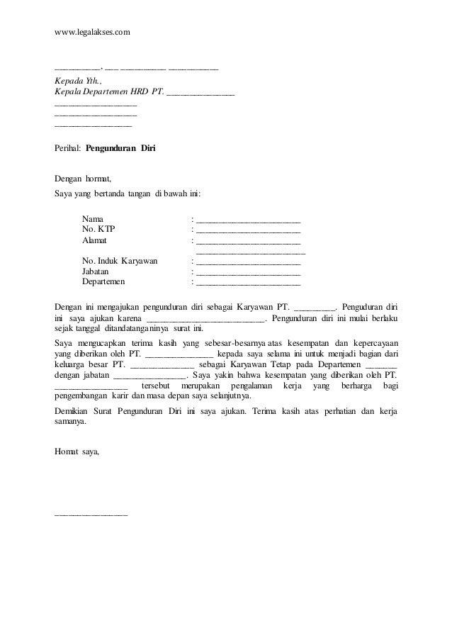Contoh Surat Pengunduran Diri Pt - Contoh Rom
