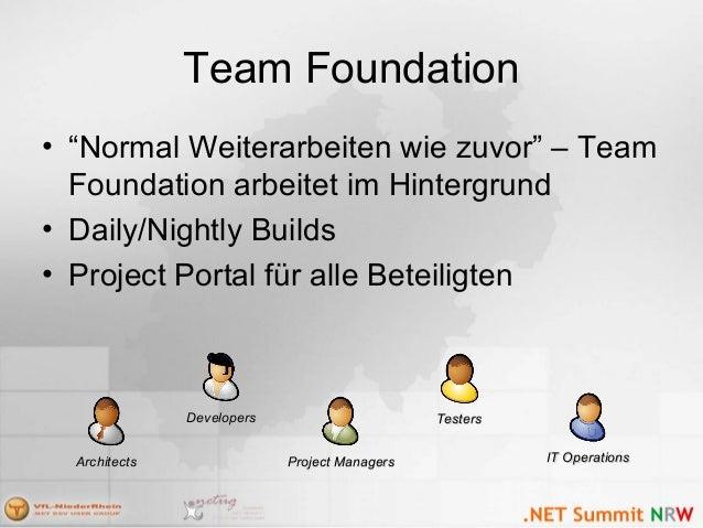 """Team Foundation • """"Normal Weiterarbeiten wie zuvor"""" – Team Foundation arbeitet im Hintergrund • Daily/Nightly Builds • Pro..."""