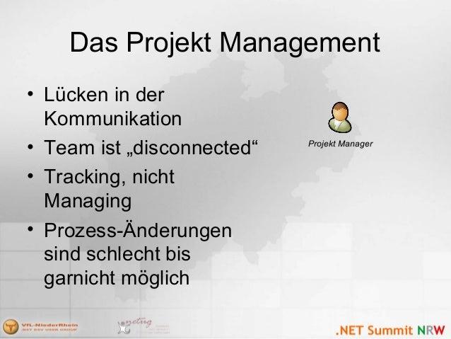 """Das Projekt Management • Lücken in der Kommunikation • Team ist """"disconnected"""" • Tracking, nicht Managing • Prozess-Änderu..."""