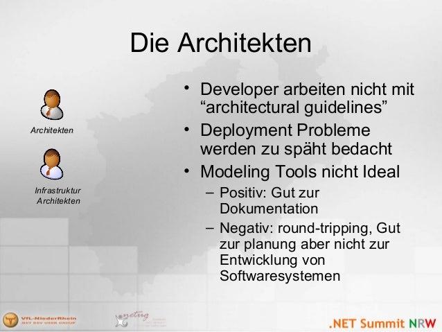 """Die Architekten • Developer arbeiten nicht mit """"architectural guidelines"""" • Deployment Probleme werden zu späht bedacht • ..."""