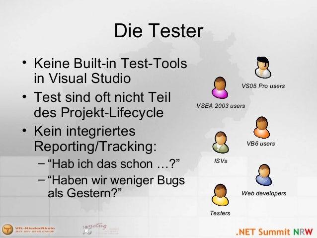 Die Tester • Keine Built-in Test-Tools in Visual Studio • Test sind oft nicht Teil des Projekt-Lifecycle • Kein integriert...
