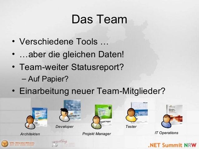 Das Team • Verschiedene Tools … • …aber die gleichen Daten! • Team-weiter Statusreport? – Auf Papier? • Einarbeitung neuer...