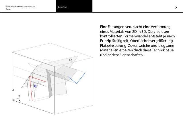 on/off – Objekte mit kalkuliertem Formwandel falten Definition 2 Eine Faltungen verursacht eine Verformung eines Materials...