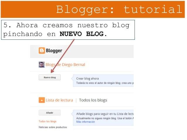 Blogger: tutorial 5. Ahora creamos nuestro blog pinchando en NUEVO BLOG.