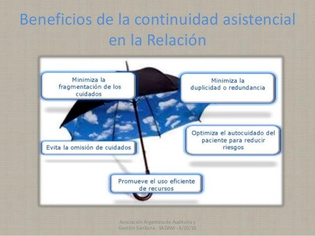 Beneficios de la continuidad asistencial en la Relación Asociación Argentina de Auditoría y Gestión Sanitaria - SADAM - 6/...