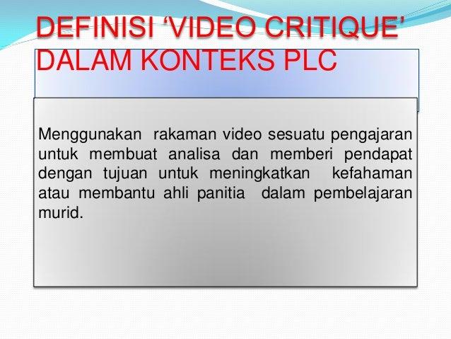 Komuniti Pembelajaran Profesional Kritikan Video
