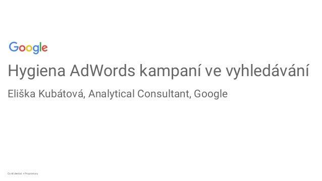 Confidential + ProprietaryConfidential + Proprietary Hygiena AdWords kampaní ve vyhledávání Eliška Kubátová, Analytical Co...