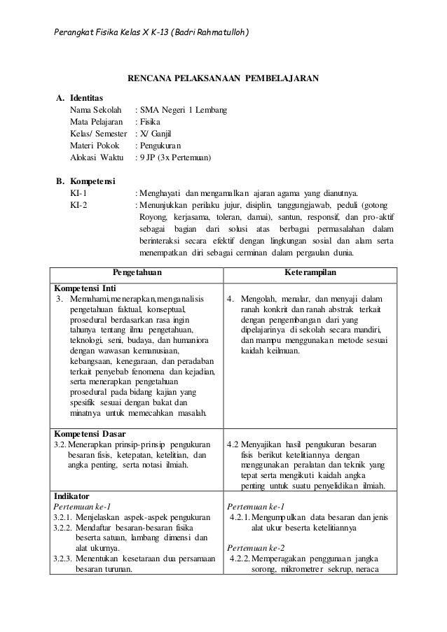02 Rpp Fisika Kd 3 2 Materi Pengukuran Kelas X Semester 1