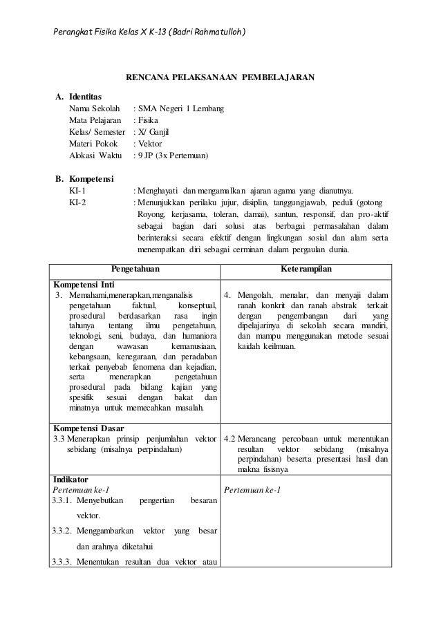 02 Rpp Fisika Kd 3 3 Materi Vektor Kelas X Semester 1