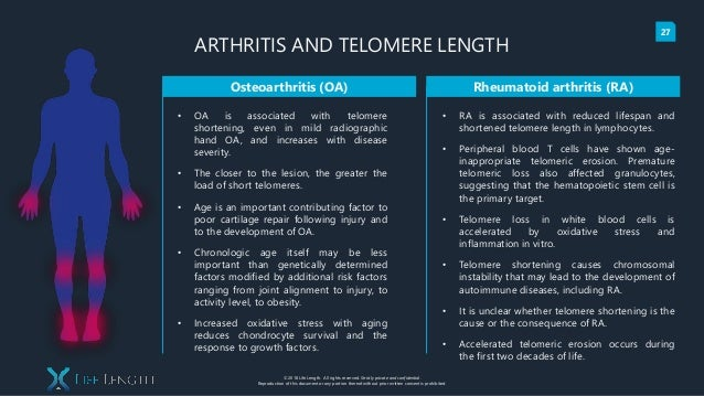 Telomere Analysis in the areas of Inflammation, Arthritis