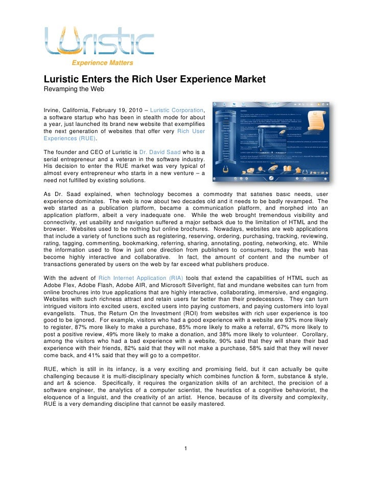 Experience Matters  Luristic Enters the Rich User Experience Market Revamping the Web   Irvine, California, February 19, 2...