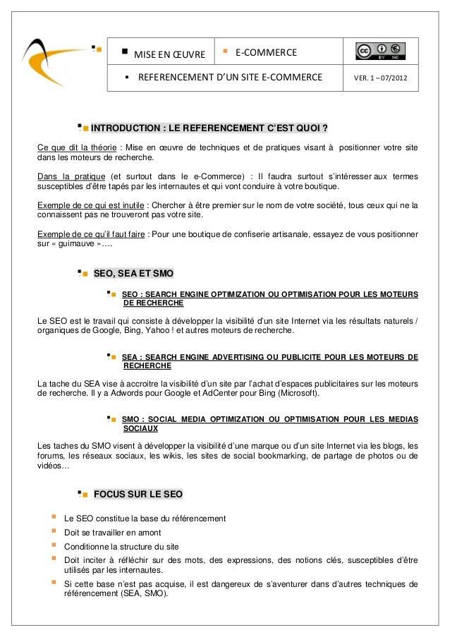 MISE EN ŒUVRE                E-COMMERCE                            REFERENCEMENT D'UN SITE E-COMMERCE                     ...