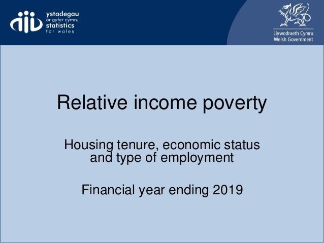 Relative income poverty Housing tenure, economic status and type of employment Financial year ending 2019