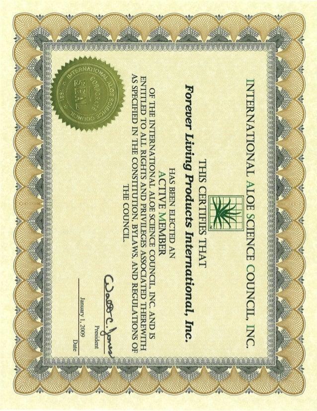Certificados de Salud Forever