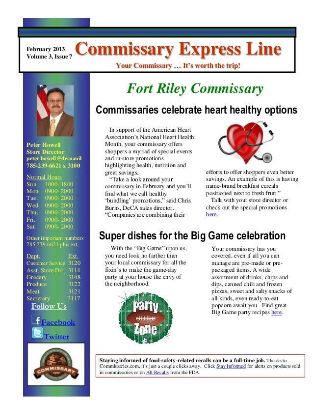February 2013Volume 3, Issue 7                    Commissary Express Line                                 Your Commissary ...