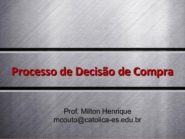 Processo de Decisão de Compra Prof. Milton Henrique mcouto@catolica-es.edu.br