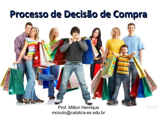 Processo de Decisão de CompraProcesso de Decisão de Compra Prof. Milton Henrique mcouto@catolica-es.edu.br