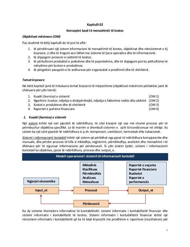 Kapitulli 02 Konceptet bazë të menaxhimit të kostos Objektivat mësimore (OM) Pas studimit të këtij kapitulli do të jeni të...